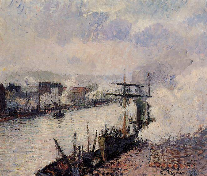 Steamboats in the Port of Rouen. (1896). Camille Pissarro