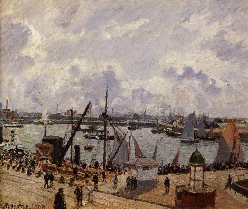 The Inner Harbor, Le Havre - Morning Sun, Rising Tide. (1903). Camille Pissarro