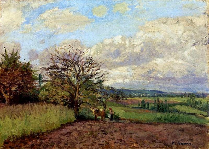 Landscape with a Cowherd. (1872). Camille Pissarro
