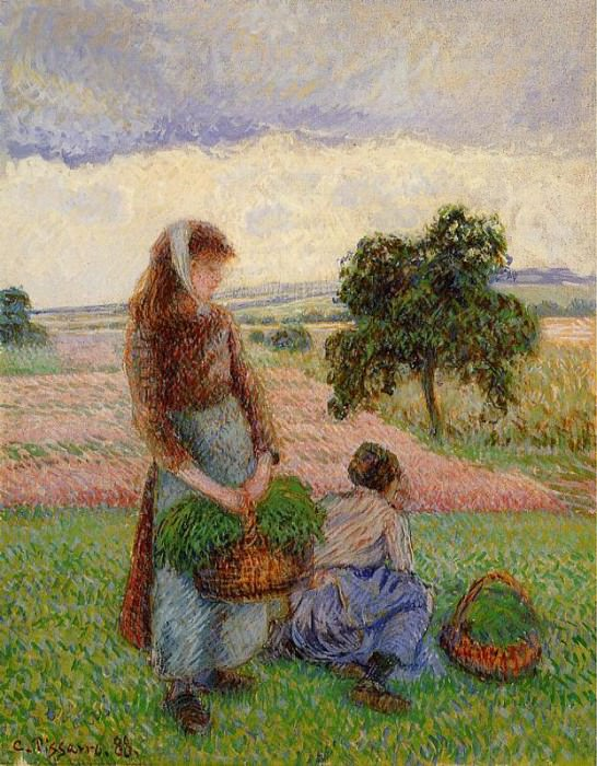Peasant Woman Carrying a Basket. (1888). Camille Pissarro
