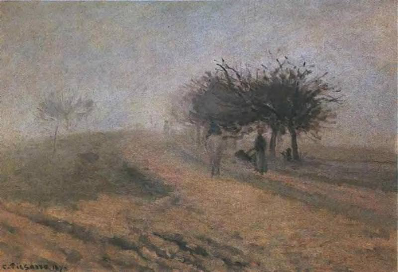 Misty Morning at Creil. (1873). Camille Pissarro