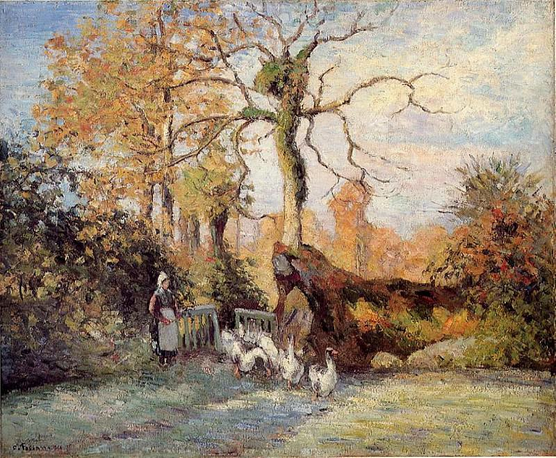 The Goose Girl at Montfoucault, White Frost. (1875). Camille Pissarro