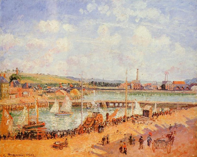 The Port of Dieppe, the Dunquesne and Berrigny Basins - High Tide, Sunny Afternoon. (1902). Camille Pissarro