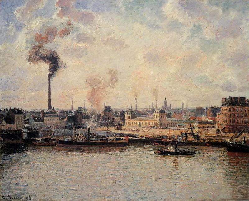 The Saint-Sever Quay, Rouen.. Camille Pissarro