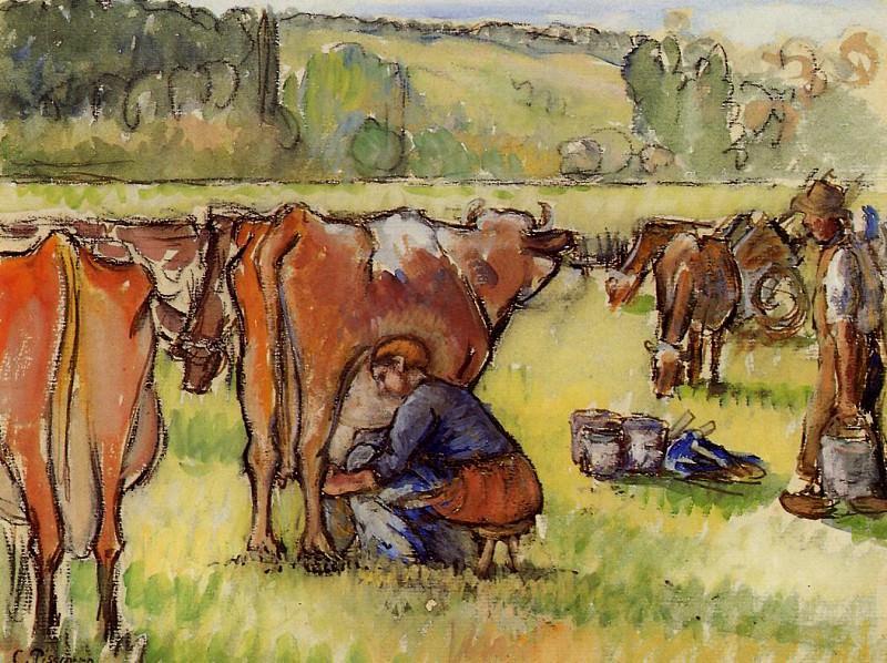 Milking Cows. Camille Pissarro