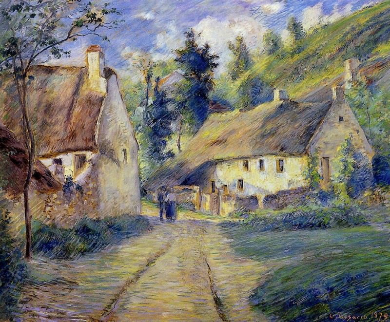 Cottages at Auvers, near Pontoise.. Camille Pissarro