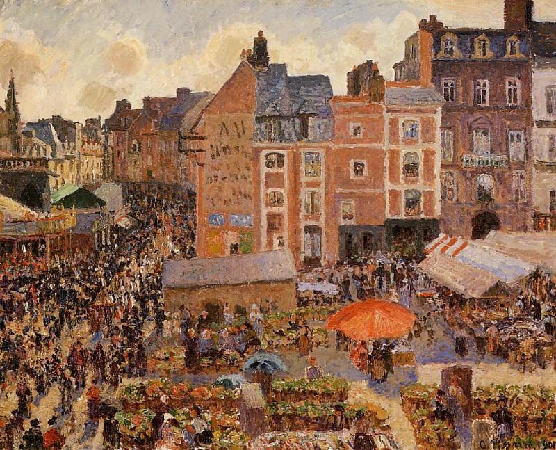Ярмарка в Дьепе - солнечный день (1901). Камиль Писсарро