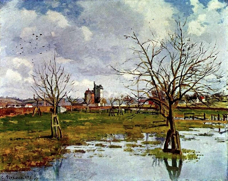 Landscape with Flooded Fields. (1873). Camille Pissarro