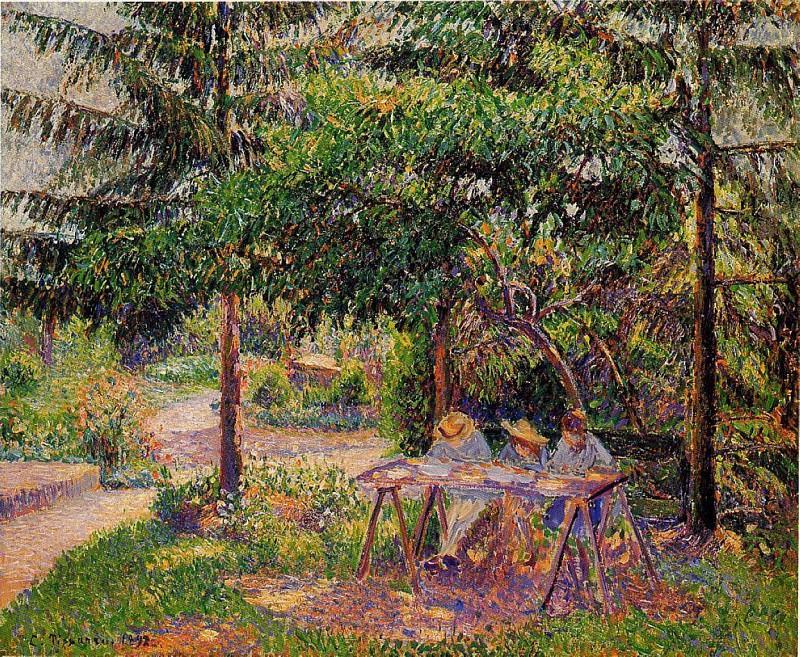 Children in a Garden at Eragny. (1897). Camille Pissarro