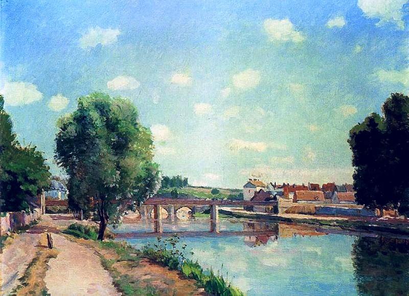 The Railroad Bridge at Pontoise. (1873). Camille Pissarro