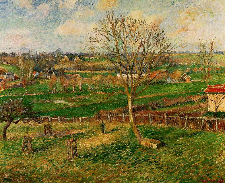Landscape, Fields, Eragny. (1885). Camille Pissarro
