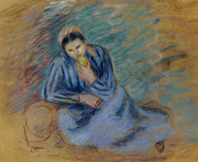 Крестьянка, грызущая яблоко (1886). Камиль Писсарро