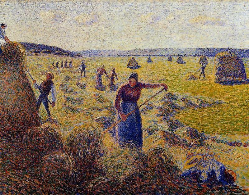 Le Recolte des Foins a Eragny. (1877). Camille Pissarro