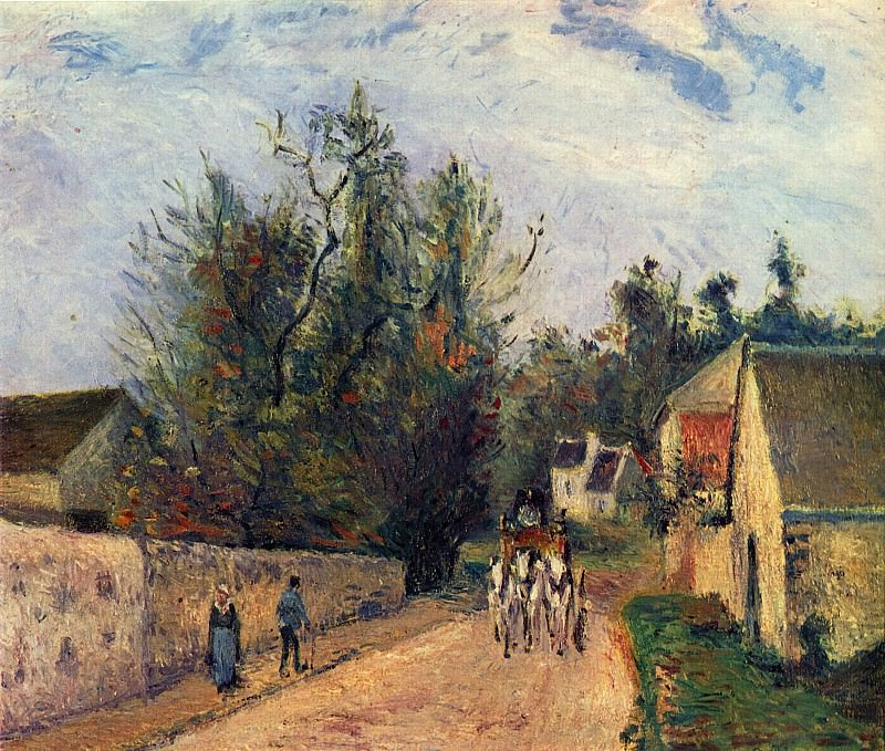 The Stage on the Road from Ennery to lHermigate, Pontoise. (1877). Camille Pissarro