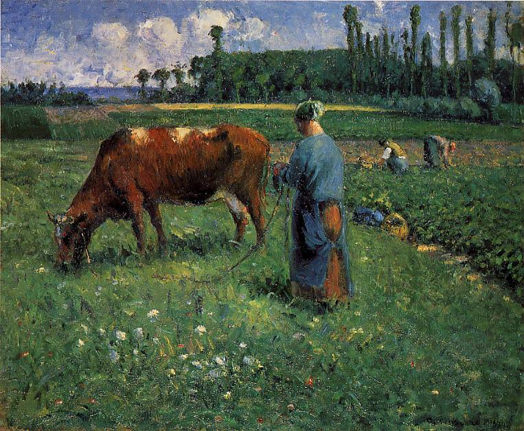 Girl Tending a Cow in a Pasture. (1874). Camille Pissarro
