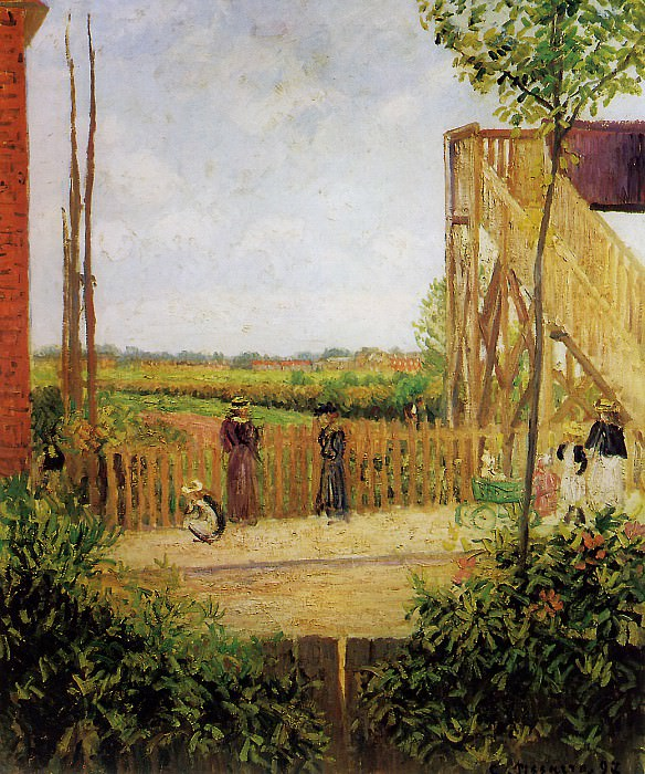 The railroad bridge at Bedford Park. Camille Pissarro