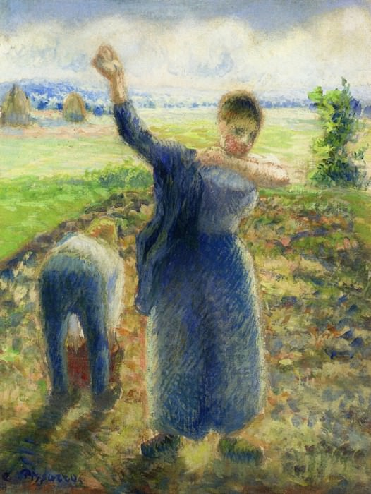 Workers in the Fields. (1896-97). Camille Pissarro