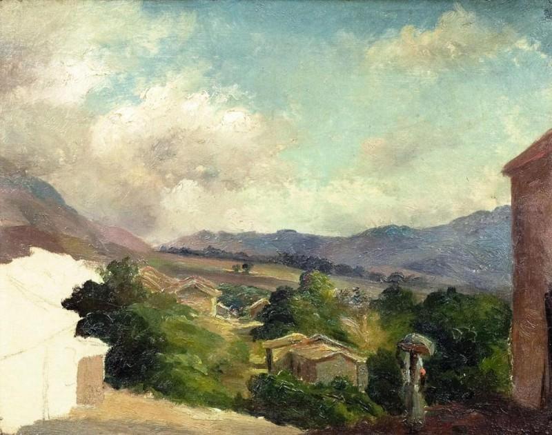 Гористый ландшафт в Сен-Тома, Антильские о-ва (картина не закончена) (1855). Камиль Писсарро