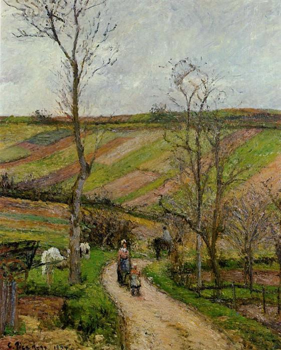 Дорога в низине селения Эрмитаж, Понтуаз (1877). Камиль Писсарро
