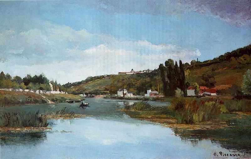 The Banks of the Marne at Chennevieres. (1864-65). Camille Pissarro