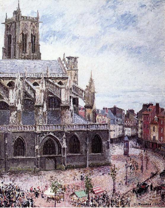 Церковь Сен-Жак, Дьеп, дождливая погода (1901). Камиль Писсарро