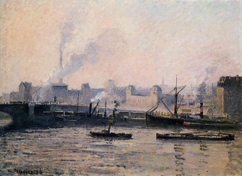 Мост Буаэльдьё в Руане - туман (1896). Камиль Писсарро