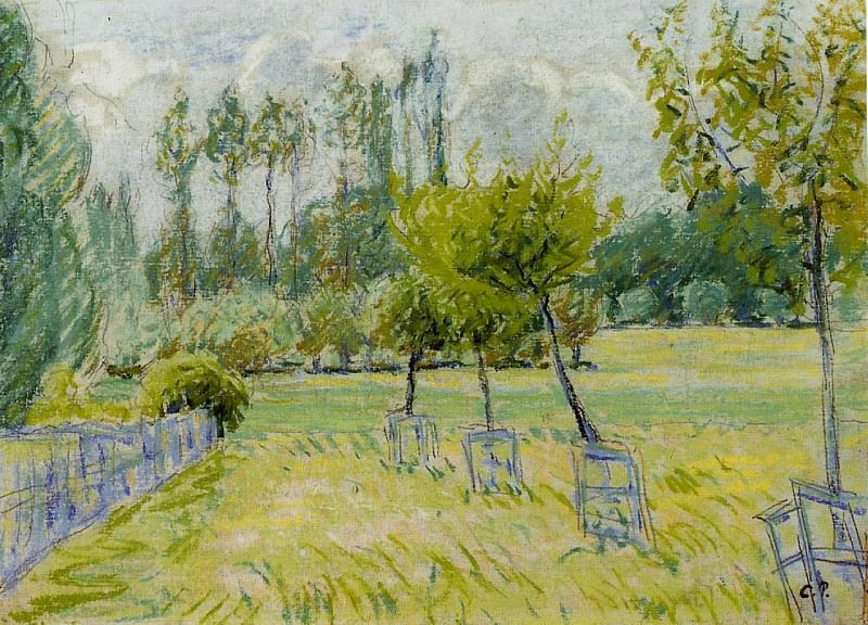 Яблони в Эраньи (этюд) (1892-93). Камиль Писсарро