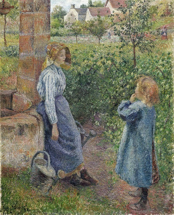 Young Woman and Child at the Well. (1882). Camille Pissarro