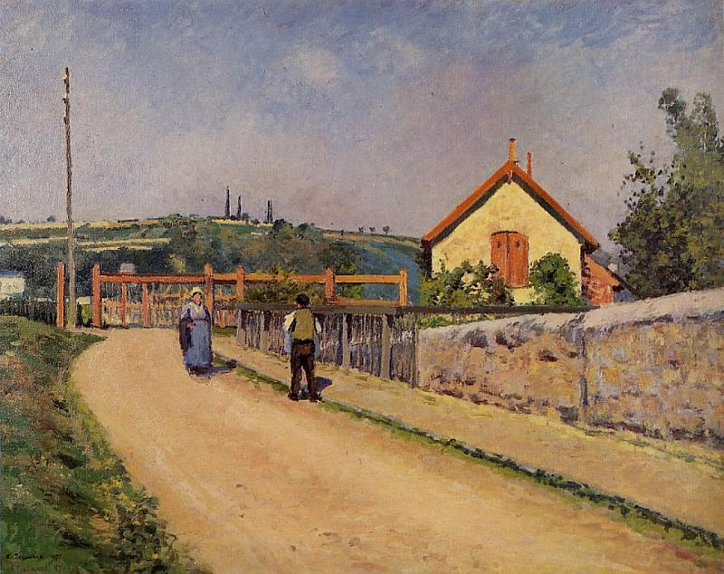 The Railroad Crossing at Les Patis. (1873-74). Camille Pissarro