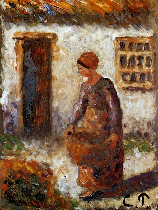 Peasant woman with basket. Camille Pissarro