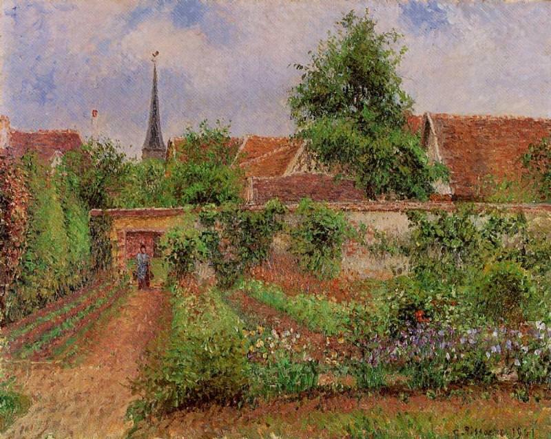 Vegetable Garden in Eragny, Overcast Sky, Morning. (1901). Camille Pissarro