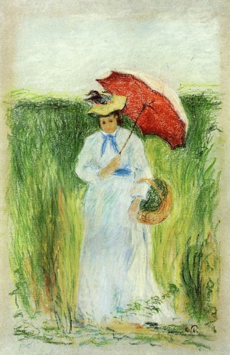 Young Woman with an Umbrella. (1877-80). Camille Pissarro