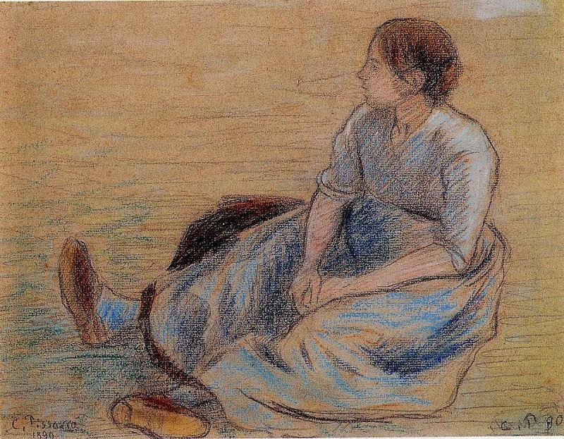 Женщина, сидящая на полу (1890). Камиль Писсарро