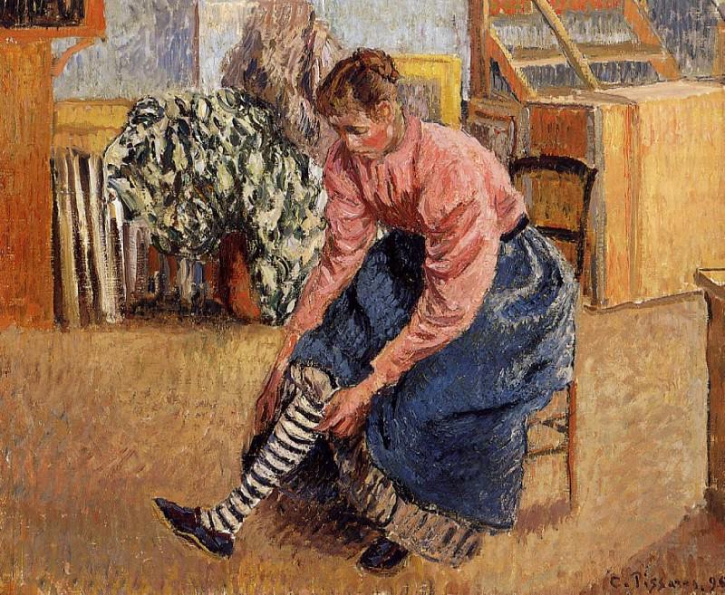 Woman Putting on Her Stockings. (1895). Camille Pissarro
