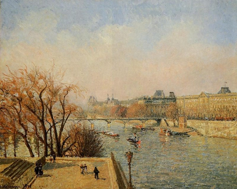 The Louvre - Morning, Sun. (1901). Camille Pissarro