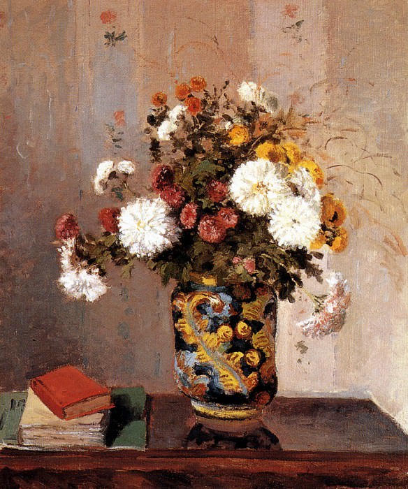 Chrysanthemums In A Chinese Vase. Camille Pissarro