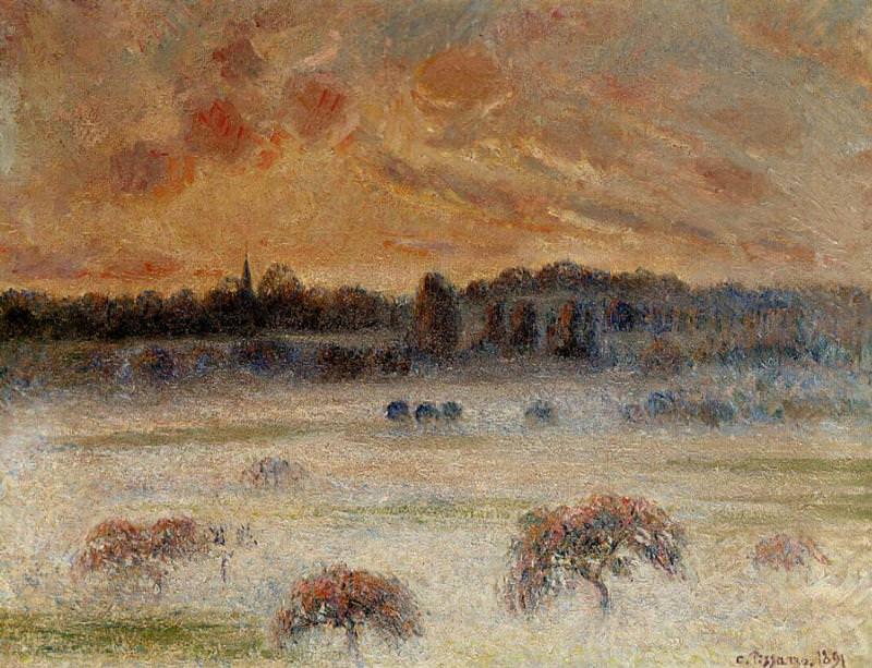 Sunset with Fog, Eragny. (1891). Camille Pissarro