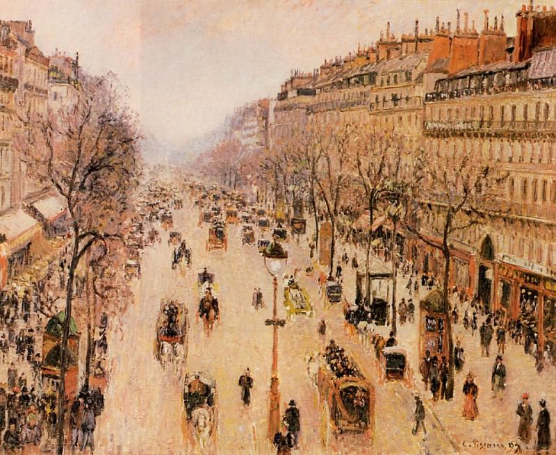 Boulevard Montmartre - Morning, Grey Weather. (1897). Camille Pissarro