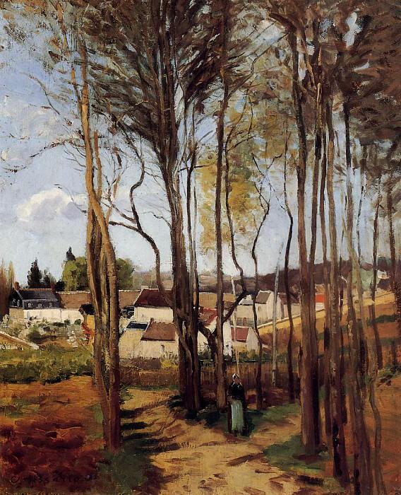A Village through the Trees. (1868). Camille Pissarro