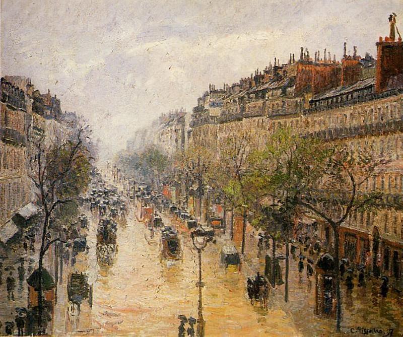 Boulevard Montmartre - Spring Rain. (1897). Camille Pissarro