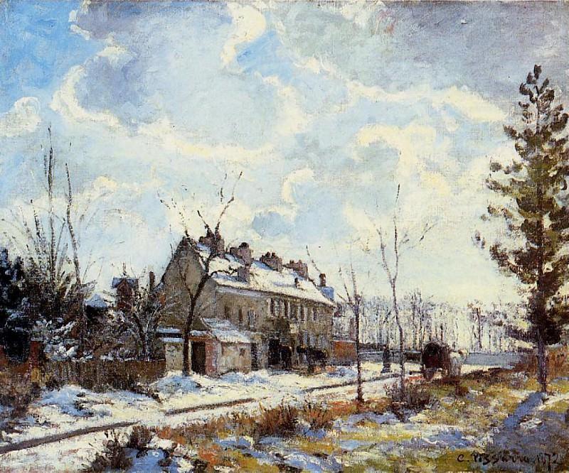 Louveciennes Road - Snow Effect. (1872). Camille Pissarro