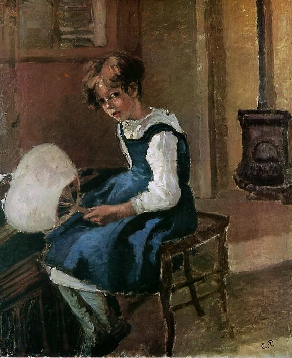 Jeanne Holding a fan. Camille Pissarro