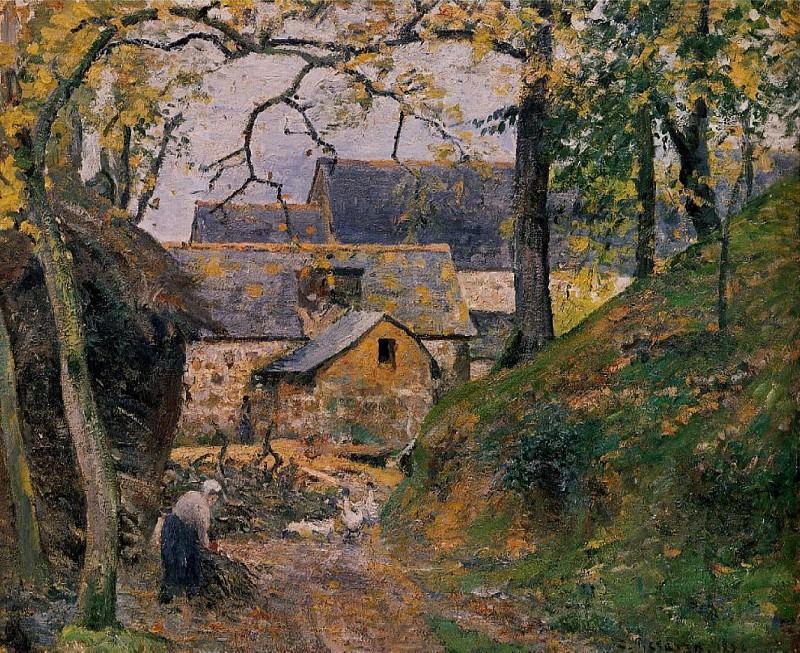 Farm at Montfoucault. (1874). Camille Pissarro