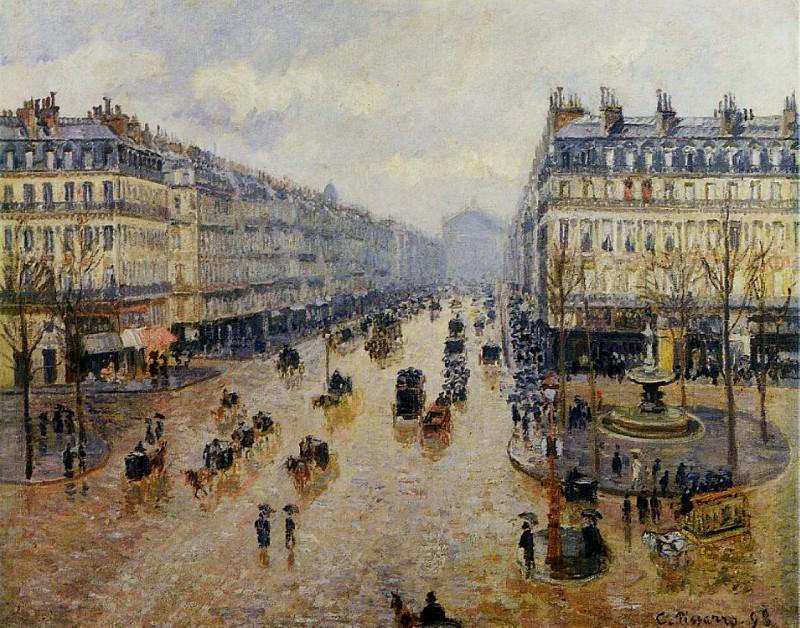 Avenue de lOpera - Rain Effect. (1898). Camille Pissarro