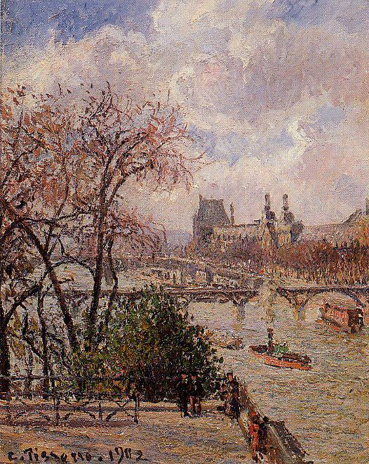 The Louvre, Gray Weather, Afternoon. (1902). Camille Pissarro