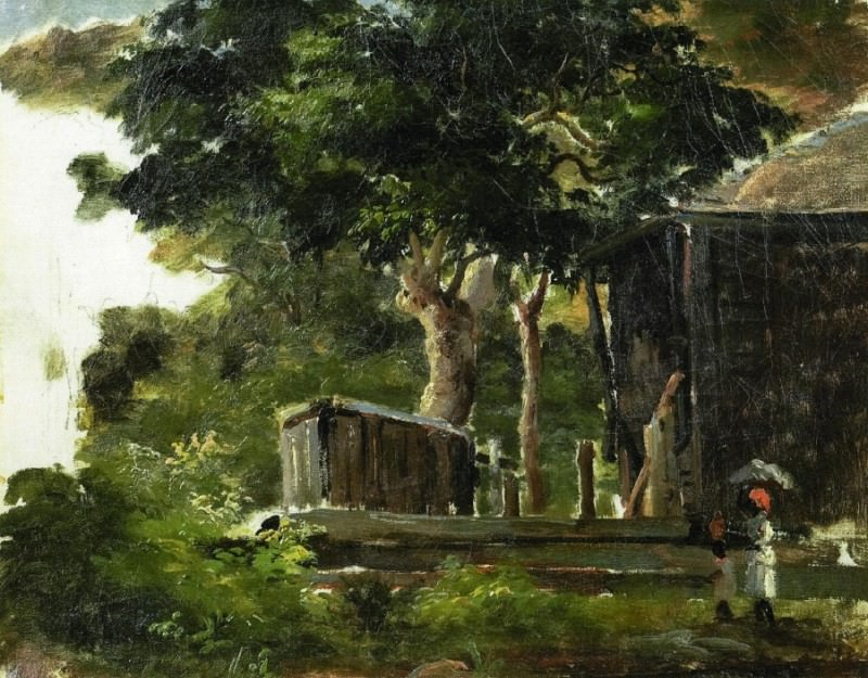 Landscape with House in the Woods in Saint Thomas, Antilles. 1854-55. Camille Pissarro
