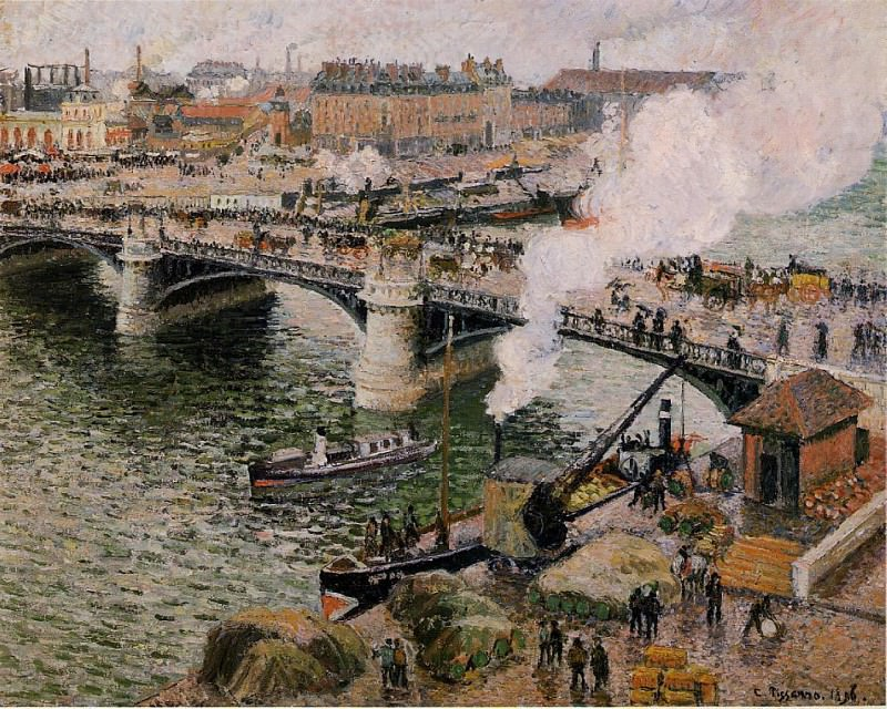 The Pont Boieldieu, Rouen - Damp Weather. (1896). Camille Pissarro