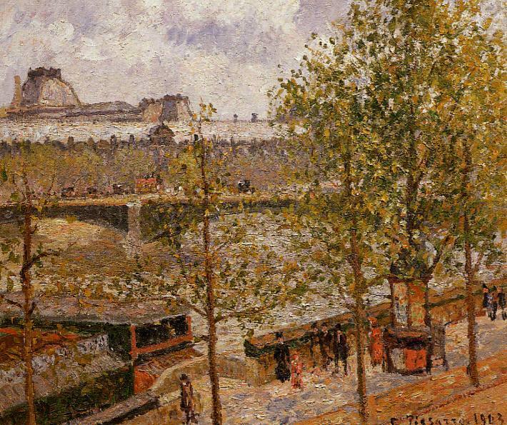 The Louvre, Morning, Sun, Quai Malaquais. (1903). Camille Pissarro