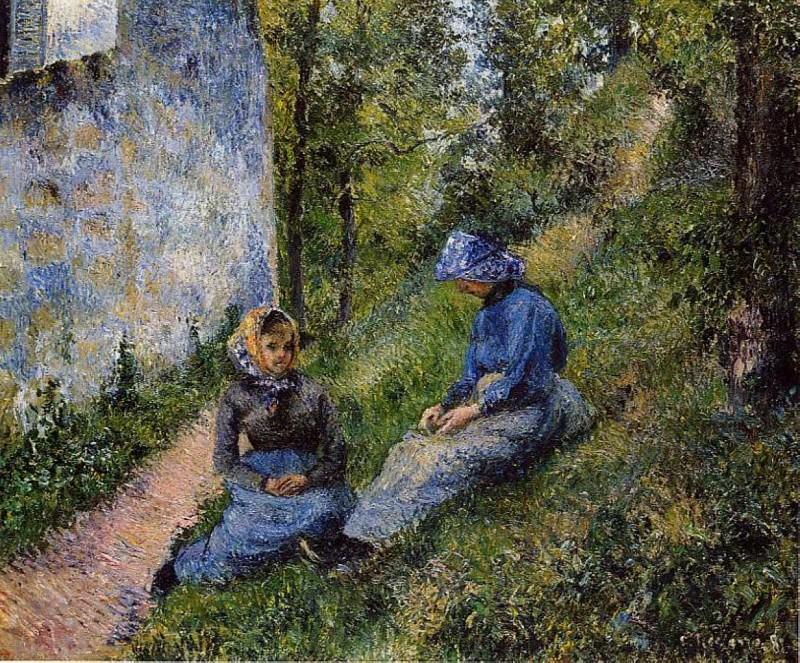 Seated Peasants, Sewing. (1881). Camille Pissarro