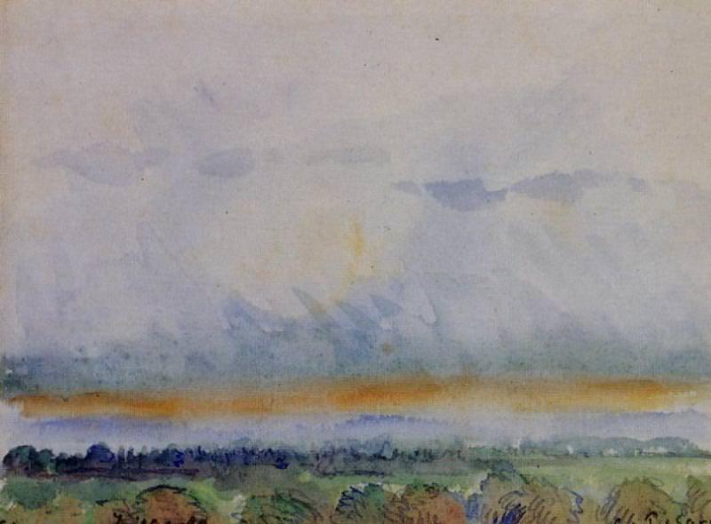 Eragny, Sunset. (1890). Camille Pissarro